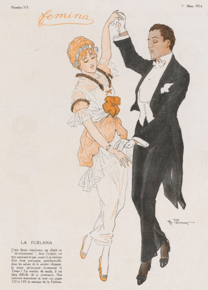 Figures de la furlana, 1914, danse italienne, belle époque, bal