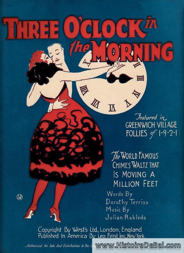 Partition de Three o'Clock in the morning, 1921. Valse citée dans Gatsby le magnifique