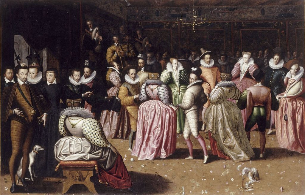 Anonyme, Un bal à la cour d'Henri III, vers 1580. Branle, bransle, danse renaissance, ronde, 16e siècle