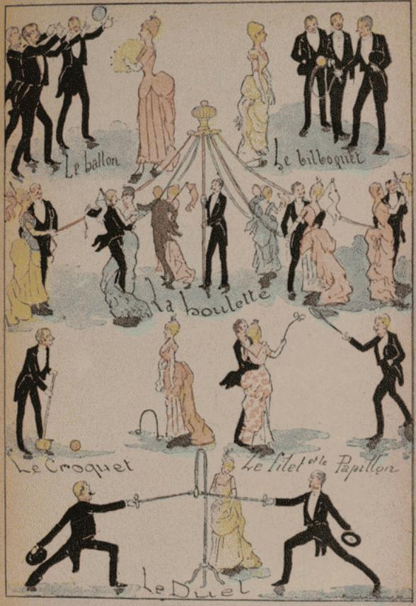 Figures de cotillon avec accessoires boulette, filet, duel, croquet ballon, bilboquet 19e siècle bal