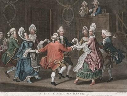 James Caldwell, The Cotillion Dance, 1771. danse cotillon, contredanse française, en carré, 18e siècle, jane austen