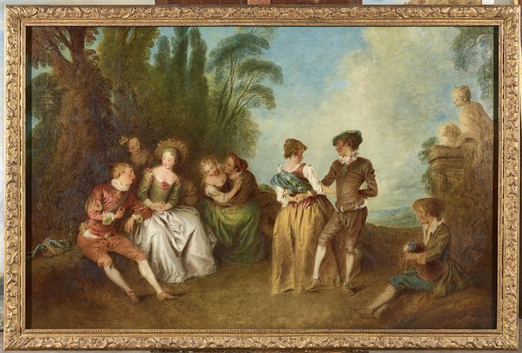 Jean-Baptiste Pater, La Danse, 1e moitié du XVIIIe siècle. Figure allemande, cotillon, baroque