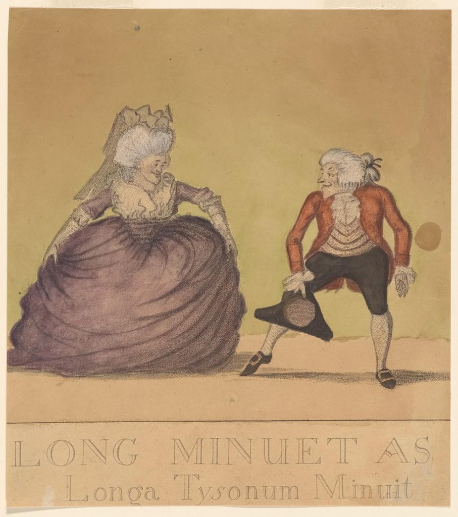 "William Dickinson, ""Long minuet as danced in Bath (...)"", 1787.  Caricature menuet"