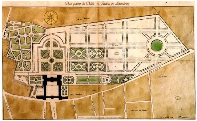 """Le palais et les jardins du Luxembourg en 1752. Lieu de la nouvelle """"menuet"""""""
