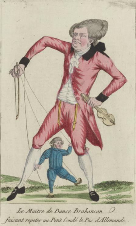 """""""Le Maitre de Danse Brabançon faisant repeter au Petit Condé le Pas d'Allemande"""", gravure de 1794. Menuet"""