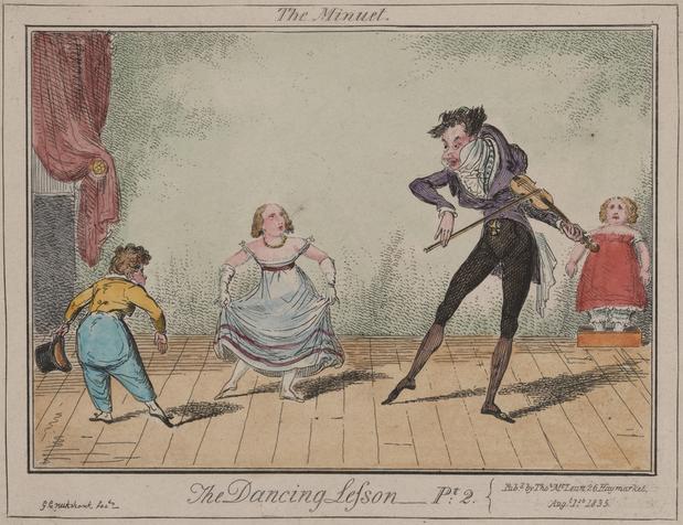 Leçon de danse regency (1817). Le maître à danser joue de la pochette. Une élève s'exerce au tourne-pied.