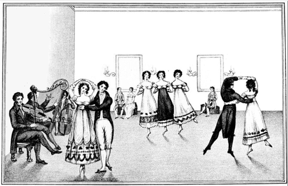 Un groupe de valseurs et des musiciens 1817