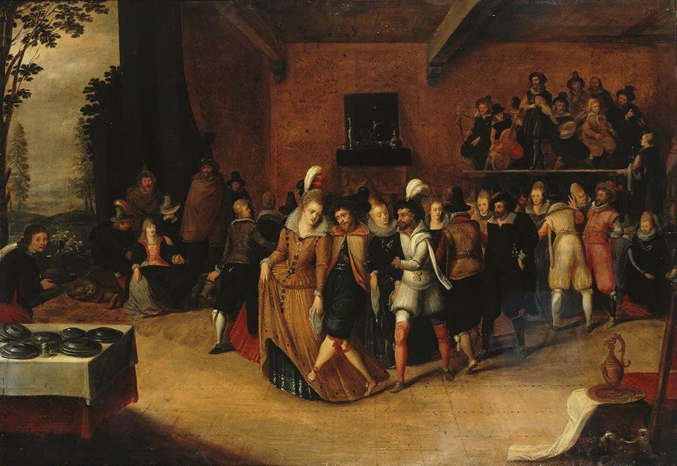Bal de danse au 17e siècle. Contredanse, pavane, bransle, gavotte, country dance, procession, cortège