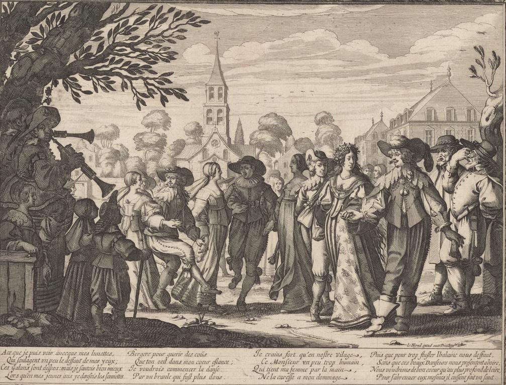 Abraham Bosse, Danse sur la place du village, 1633. Bransle en chaîne ou ronde - danse paysanne du 17e siècle