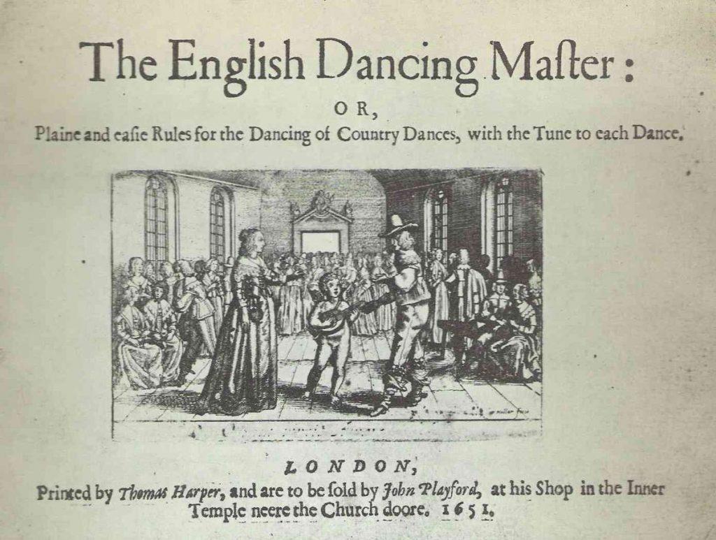 Frontispice de la première édition de John Playford, The English Dancing Master, Londres, 1651. Contredanse, country dance, danse, bal, couple