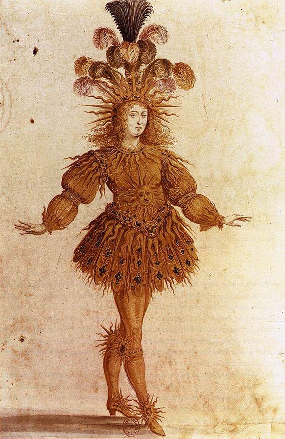 Louis XIV dans le rôle d'Apollon.  Henri de Gissey, Ballet de la nuit, 1653. Danse baroque.